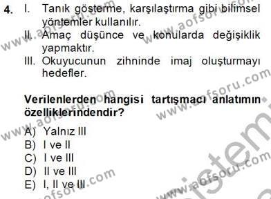 Türkçe Sözlü Anlatım Dersi 2013 - 2014 Yılı Dönem Sonu Sınavı 4. Soru