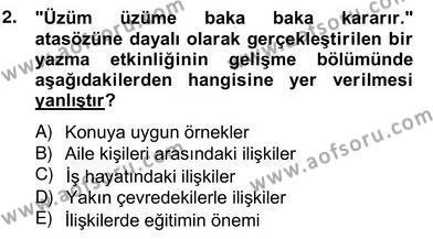 Türkçe Yazılı Anlatım Dersi 2012 - 2013 Yılı Ara Sınavı 2. Soru