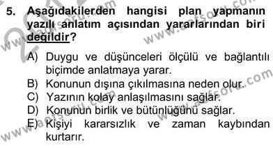 İngilizce Öğretmenliği Bölümü 4. Yarıyıl Türkçe Yazılı Anlatım Dersi 2013 Yılı Bahar Dönemi Ara Sınavı 5. Soru