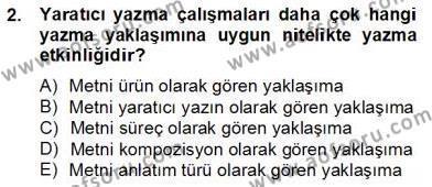 Türkçe Yazılı Anlatım Dersi 2012 - 2013 Yılı (Final) Dönem Sonu Sınav Soruları 2. Soru