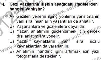 Türkçe Yazılı Anlatım Dersi 2012 - 2013 Yılı (Final) Dönem Sonu Sınav Soruları 4. Soru