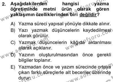 İngilizce Öğretmenliği Bölümü 4. Yarıyıl Türkçe Yazılı Anlatım Dersi 2014 Yılı Bahar Dönemi Ara Sınavı 2. Soru
