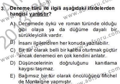 Türkçe Yazılı Anlatım Dersi 2013 - 2014 Yılı Dönem Sonu Sınavı 3. Soru