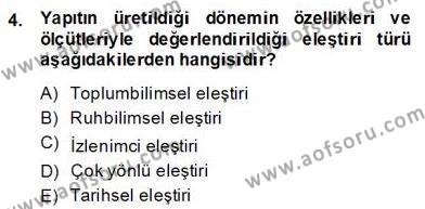 Türkçe Yazılı Anlatım Dersi 2013 - 2014 Yılı Dönem Sonu Sınavı 4. Soru
