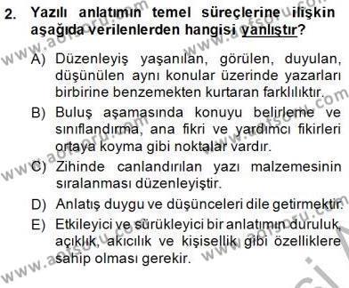 İngilizce Öğretmenliği Bölümü 4. Yarıyıl Türkçe Yazılı Anlatım Dersi 2015 Yılı Bahar Dönemi Ara Sınavı 2. Soru