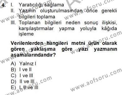 İngilizce Öğretmenliği Bölümü 4. Yarıyıl Türkçe Yazılı Anlatım Dersi 2015 Yılı Bahar Dönemi Ara Sınavı 4. Soru