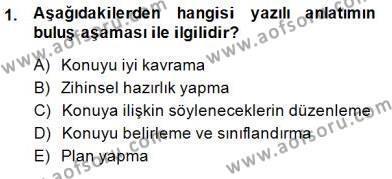 Türkçe Yazılı Anlatım Dersi 2014 - 2015 Yılı Dönem Sonu Sınavı 1. Soru