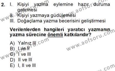 Türkçe Yazılı Anlatım Dersi 2014 - 2015 Yılı Dönem Sonu Sınavı 2. Soru