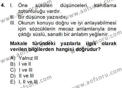 Türkçe Yazılı Anlatım Dersi 2014 - 2015 Yılı Dönem Sonu Sınavı 4. Soru
