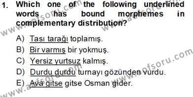 Türkçe Ses Ve Biçim Bilgisi Dersi 2013 - 2014 Yılı Tek Ders Sınav Soruları 1. Soru