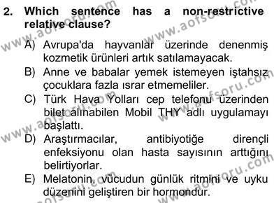 Türkçe Tümce Bilgisi Ve Anlambilim Dersi 2012 - 2013 Yılı Ara Sınavı 2. Soru