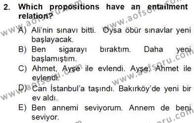 Türkçe Tümce Bilgisi Ve Anlambilim Dersi 2012 - 2013 Yılı Dönem Sonu Sınavı 2. Soru