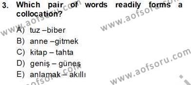 Türkçe Tümce Bilgisi Ve Anlambilim Dersi 2013 - 2014 Yılı Tek Ders Sınavı 3. Soru