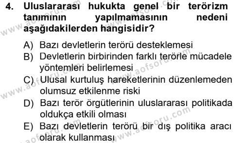 Uluslararası İlişkiler Bölümü 3. Yarıyıl Uluslararası Politika I Dersi 2013 Yılı Güz Dönemi Dönem Sonu Sınavı 4. Soru