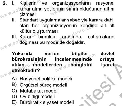 Diş Politika Analizi Dersi 2012 - 2013 Yılı Dönem Sonu Sınavı 2. Soru