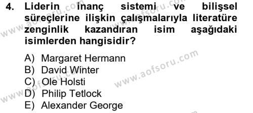 Diş Politika Analizi Dersi 2012 - 2013 Yılı Dönem Sonu Sınavı 4. Soru