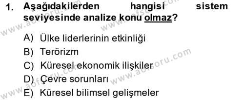 Diş Politika Analizi Dersi 2013 - 2014 Yılı Dönem Sonu Sınavı 1. Soru