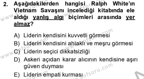 Diş Politika Analizi Dersi 2013 - 2014 Yılı (Final) Dönem Sonu Sınav Soruları 2. Soru
