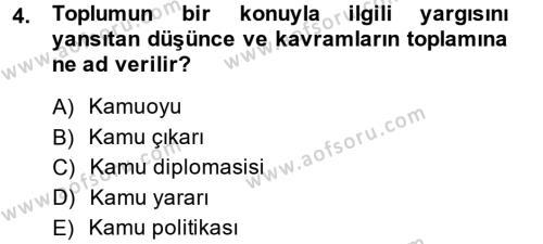 Diş Politika Analizi Dersi 2013 - 2014 Yılı (Final) Dönem Sonu Sınav Soruları 4. Soru