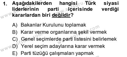 Diş Politika Analizi Dersi 2014 - 2015 Yılı Dönem Sonu Sınavı 1. Soru
