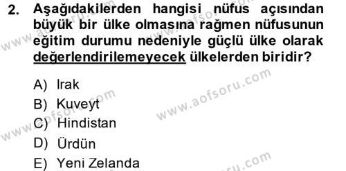 Diş Politika Analizi Dersi 2014 - 2015 Yılı Dönem Sonu Sınavı 2. Soru