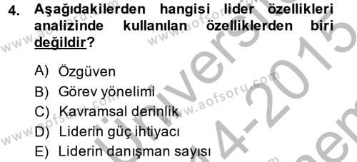 Diş Politika Analizi Dersi 2014 - 2015 Yılı Dönem Sonu Sınavı 4. Soru