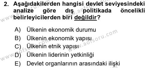 Diş Politika Analizi Dersi 2015 - 2016 Yılı (Vize) Ara Sınav Soruları 2. Soru