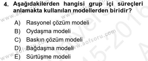 Diş Politika Analizi Dersi 2015 - 2016 Yılı (Vize) Ara Sınav Soruları 4. Soru