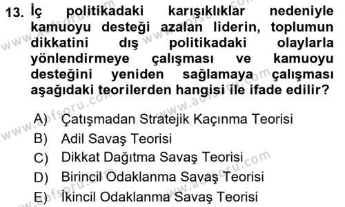 Diş Politika Analizi Dersi 2015 - 2016 Yılı (Final) Dönem Sonu Sınavı 13. Soru