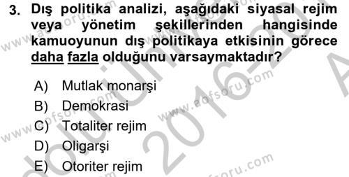 Diş Politika Analizi Dersi 2016 - 2017 Yılı (Vize) Ara Sınav Soruları 3. Soru