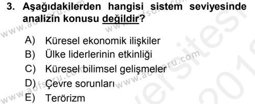 Diş Politika Analizi Dersi 2017 - 2018 Yılı (Vize) Ara Sınav Soruları 3. Soru