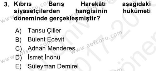 Diş Politika Analizi Dersi 2017 - 2018 Yılı (Final) Dönem Sonu Sınav Soruları 3. Soru
