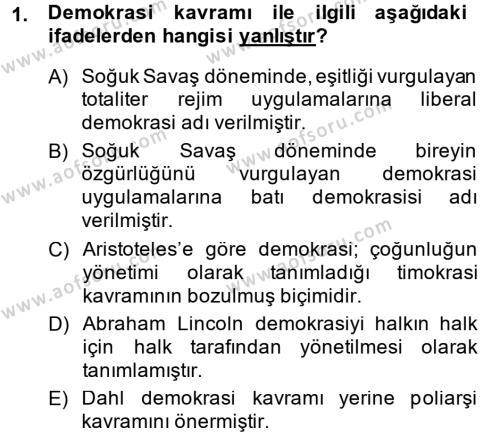 Sosyoloji Bölümü 1. Yarıyıl Karşılaştırmalı Siyasal Sistemler Dersi 2015 Yılı Güz Dönemi Ara Sınavı 1. Soru