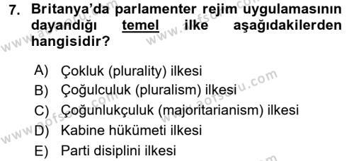 Karşılaştırmalı Siyasal Sistemler Dersi 3 Ders Sınavı Deneme Sınav Soruları 7. Soru