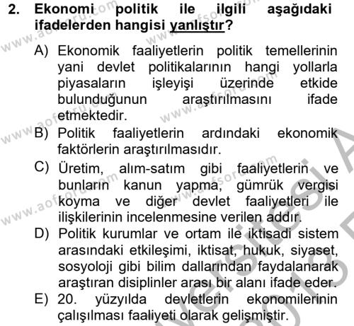 Uluslararası Ekonomi Politik Dersi 2012 - 2013 Yılı (Vize) Ara Sınav Soruları 2. Soru