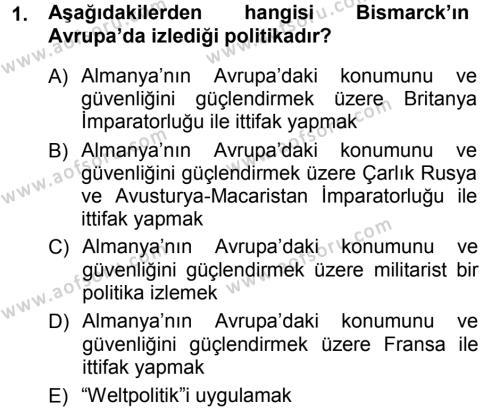 Uluslararası İlişkiler Bölümü 7. Yarıyıl Türk Dış Politikası I Dersi 2013 Yılı Güz Dönemi Ara Sınavı 1. Soru