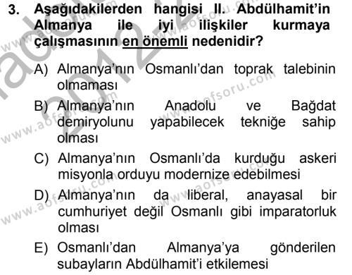 Uluslararası İlişkiler Bölümü 7. Yarıyıl Türk Dış Politikası I Dersi 2013 Yılı Güz Dönemi Ara Sınavı 3. Soru