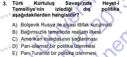Uluslararası İlişkiler Bölümü 7. Yarıyıl Türk Dış Politikası I Dersi 2013 Yılı Güz Dönemi Dönem Sonu Sınavı 3. Soru