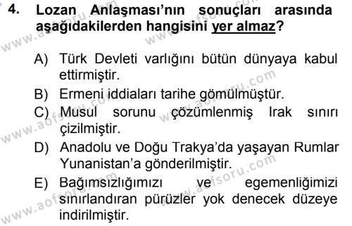 Uluslararası İlişkiler Bölümü 7. Yarıyıl Türk Dış Politikası I Dersi 2013 Yılı Güz Dönemi Dönem Sonu Sınavı 4. Soru