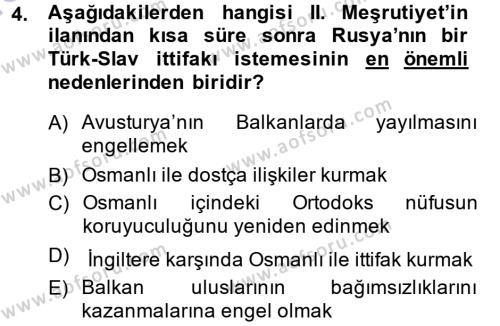 Uluslararası İlişkiler Bölümü 7. Yarıyıl Türk Dış Politikası I Dersi 2014 Yılı Güz Dönemi Ara Sınavı 4. Soru