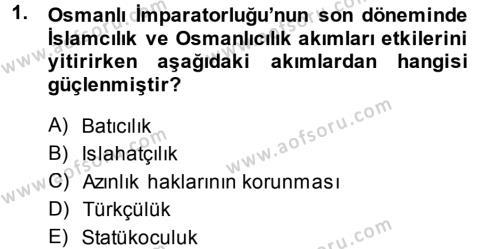 Uluslararası İlişkiler Bölümü 7. Yarıyıl Türk Dış Politikası I Dersi 2014 Yılı Güz Dönemi Tek Ders Sınavı 1. Soru