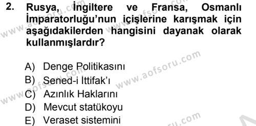 Türk Dış Politikası 1 Dersi 2013 - 2014 Yılı Tek Ders Sınavı 2. Soru