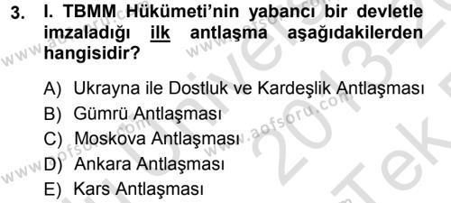 Türk Dış Politikası 1 Dersi 2013 - 2014 Yılı Tek Ders Sınavı 3. Soru