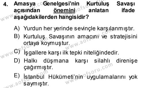 Uluslararası İlişkiler Bölümü 7. Yarıyıl Türk Dış Politikası I Dersi 2014 Yılı Güz Dönemi Tek Ders Sınavı 4. Soru