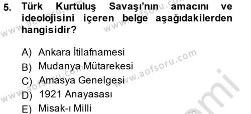 Uluslararası İlişkiler Bölümü 7. Yarıyıl Türk Dış Politikası I Dersi 2014 Yılı Güz Dönemi Tek Ders Sınavı 5. Soru