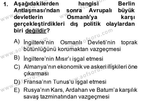 Uluslararası İlişkiler Bölümü 7. Yarıyıl Türk Dış Politikası I Dersi 2015 Yılı Güz Dönemi Ara Sınavı 1. Soru