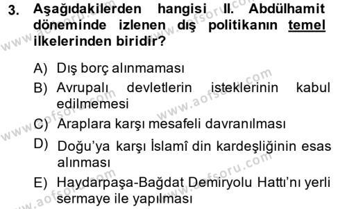 Türk Dış Politikası 1 Dersi 2014 - 2015 Yılı (Vize) Ara Sınav Soruları 3. Soru
