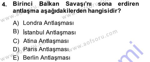 Uluslararası İlişkiler Bölümü 7. Yarıyıl Türk Dış Politikası I Dersi 2015 Yılı Güz Dönemi Ara Sınavı 4. Soru