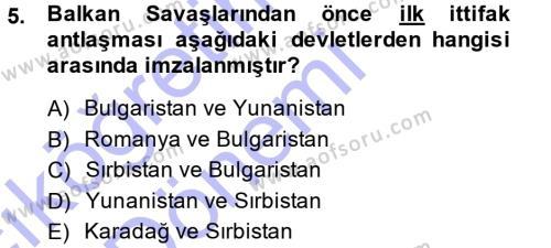 Uluslararası İlişkiler Bölümü 7. Yarıyıl Türk Dış Politikası I Dersi 2015 Yılı Güz Dönemi Ara Sınavı 5. Soru