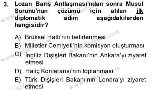 Türk Dış Politikası 1 Dersi 2014 - 2015 Yılı Dönem Sonu Sınavı 3. Soru